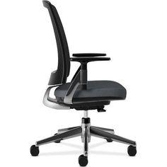 HON Lota High-Back Desk Chair Frame Finish: Polish Aluminum, Upholstery: Charcoal