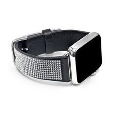 Apple Watch Black Replacement Band with Crystal Swarovski Elements - Sheer Elegance Collection Apple Watch Replacement Bands, Swarovski Watches, Apple Brand, Hand Accessories, Elegant Watches, Wearable Technology, Iphone 6 Plus Case, Apple Watch Bands, Watch Brands