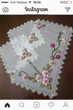 This Pin was discovered by Ayf Embroidery Sampler, Hand Embroidery, Crochet Art, Crochet Flowers, New Hair Cut Style, Cross Stitch Heart, Crochet Tablecloth, Pretty Patterns, Knitted Shawls