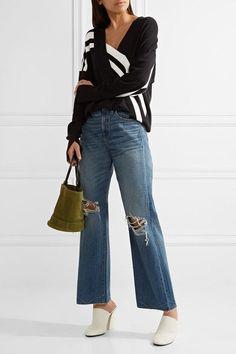 Simon Miller - Basin Distressed Wide-leg Jeans - Mid denim - 23