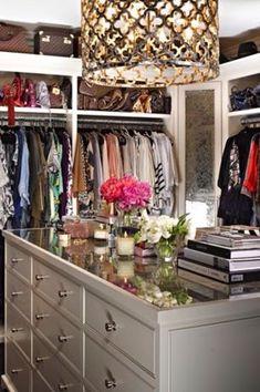 Contemporary Closet with Carpet, Built-in bookshelf, Frontgate Metal Patterned Chandelier, Pendant Light