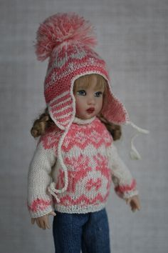 """Sweater and cap for Helen Kish 7.5"""" Riley, Kickits (Tonner) and similar size dol  sold 1/2018 $8 shipping"""