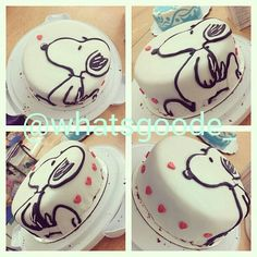 My wish is for this snoopy cake! Bolo Snoopy, Snoopy Cake, Snoopy Birthday, Snoopy Party, Crazy Cakes, Fancy Cakes, Sweet Cakes, Cute Cakes, Cake Decorating Tips