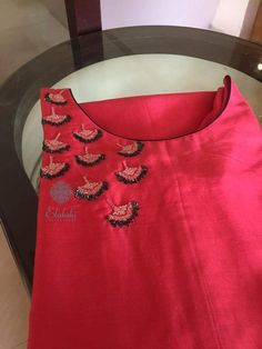 To customize, whatsapp 9043230015 for Saree, Blouse and Kur Embroidery On Kurtis, Kurti Embroidery Design, Hand Embroidery Dress, Embroidery Fashion, Hand Embroidery Patterns, Embroidery Suits, Salwar Neck Designs, Churidar Designs, Dress Neck Designs