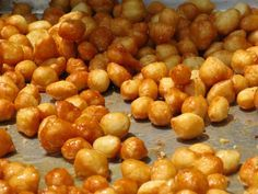 "This is an absolutely delicious traditional Greek sweet served all year round! They are called ""Loukoumades"". Their aroma is magnetic and their taste is addictive! Make them fre. Cantaloupe Recipes, Radish Recipes, Greek Desserts, Greek Recipes, Greek Sweets, Sweets Recipes, Cooking Recipes, Frangipane Recipes, Kitchens"