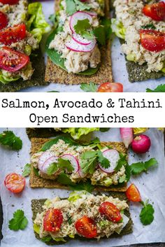 Salmon, Avocado and Tahini Open Sandwiches - a healthy, easy and economical sandwich filling using canned salmon paired with fresh avocado and creamy tahini. Delicious, dairy free and sugar free! Recipe via nourisheveryday.com