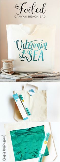 Foiled Canvas DIY Beach Bag