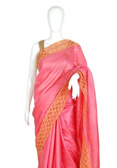 Pink Tussar Silk Saree with Yellow Cut Work – Desically Ethnic