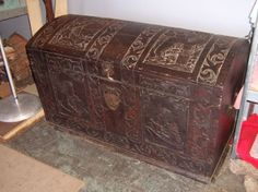 Antique Carved Wood Extra Large Dome Top Trunk - PICKUP ONLY from TomeTraders.com