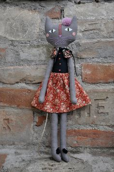 Grey cat with embroidered face - handmade fabric rag cat doll