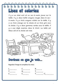 Lisez et coloriez - Français Fle Fiches Pedagogiques Classroom Behavior, Special Education Classroom, Kids Education, French Teaching Resources, Teaching French, French Language Lessons, French Lessons, French Worksheets, Picture Composition