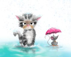 Happy in rain? by Zuzana Svobodová Rain Illustration, Character Illustration, Children's Book Publishers, Kids Study, Cat Mouse, Cute Art, Holiday Fun, Childrens Books, Illustrators