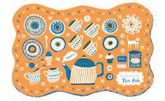 Tea Set Tea Towel two colour screen print - Louise Lockhart