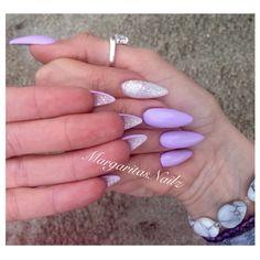 Lavender with glitter flipside stiletto nails  @MargaritasNailz