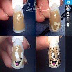 Tom y jerry nails❤🐱🐭 Cartoon Nail Designs, Animal Nail Designs, Animal Nail Art, Nail Art Designs Videos, Nail Art Hacks, Gel Nail Art, Nail Art Diy, Trendy Nails, Cute Nails