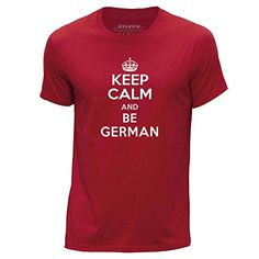 STUFF4 Hombres/X Grande (XL)/Rojo/Cuello redondo de la camiseta/Keep Calm Be German #camiseta #friki #moda #regalo