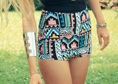 high wasited aztec shorts!!
