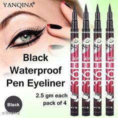 Checkout this latest Eyeliners Product Name: *YANQINA 36H Waterproof Eyeliner Pencil Liquid Makeup Beauty Cosmetics Precision Liquid Eyeliner* Product Name: YANQINA 36H Waterproof Eyeliner Pencil Liquid Makeup Beauty Cosmetics Precision Liquid Eyeliner Brand Name: Yanqina Shade: Black Type: Pencil Multipack: 4 Country of Origin: India Easy Returns Available In Case Of Any Issue   Catalog Rating: ★4 (389)  Catalog Name: Free Gift Premium Choice Waterproof Pen Eyeliner Vol 1 CatalogID_562281 C178-SC1967 Code: 632-3982112-006