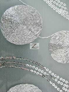 Metallic Spiral Sequin Mesh Fabric  SILVER  50/52 by BigZFabric, $13.99