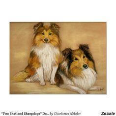 """Two Shetland Sheepdogs"" Dog Art Print"