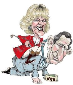 Caricature of Prince Charles and the Duchess of Cornwall. ✿ ❀ ❁✿ For more great pins go to Cartoon Faces, Funny Faces, Cartoon Drawings, Cartoon Art, Cartoon Characters, Funny Caricatures, Celebrity Caricatures, Celebrity Drawings, Fuchs Illustration