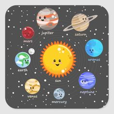 Solar system kawaii illustration sun and planets Classic Round Sticker Solar System Painting, Solar System Cake, Solar System Planets, Solar System Poster, Diy Solar System, Illustration Kawaii, Astronaut Illustration, Solar System Wallpaper, Planet Crafts