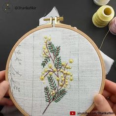 Embroidery Flowers - Mimosa - Embroidery for Beginner - Kanaviçe - Embroidery inspiration - Hand Embroidery Patterns Flowers, Hand Embroidery Videos, Crewel Embroidery Kits, Hand Embroidery Designs, Embroidery Techniques, Embroidery Ideas, Beginner Embroidery, Ribbon Embroidery, Hand Work Embroidery
