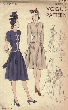 Vintage Vogue Sewing Pattern 1940s One Piece Dress Full Skirt Gown Shaped Bodice Collarless Narrow Sleeves Bust 34. $11.50, via Etsy.