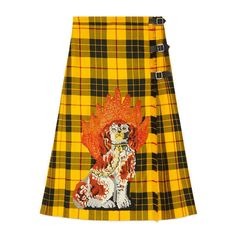 Gucci Embroidered Tartan Wool Skirt ($2,565) ❤ liked on Polyvore featuring skirts, bottoms, plaid skirt, knee length pleated skirt, dog skirt, gucci and wool tartan skirt