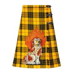 Gucci Embroidered Tartan Wool Skirt (94 645 UAH) ❤ liked on Polyvore featuring skirts, tartan plaid skirt, gucci, yellow skirt, plaid pleated skirts and knee length pleated skirt
