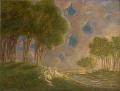 Paesaggio (Gaetano Previati) Monet Paintings, Easy Paintings, Landscape Paintings, Landscapes, Art Nouveau, Gustave Courbet, Most Famous Artists, Salon Art, Cleveland Museum Of Art