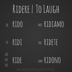 Learning Italian Language ~ ridere | to laugh                              …