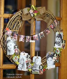 Family photo wreath -- This would be great with our grandchildren for our new building! Love love Glad we have a new printer just for printing photos! Picture Wreath, Picture Frame Ornaments, Photo Christmas Ornaments, Homemade Christmas Gifts, Christmas Diy, Christmas Wreaths, Holiday, Xmas, Wreath Crafts