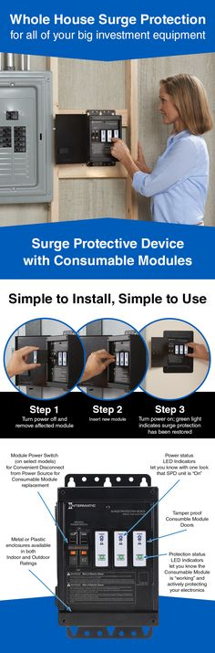 Household appliances and electronics are smarter and more expensive. Protect your investments with whole house surge protection!  Easily monitor that your home is being protected. Quickly and safely replace modules when needed to ensure your home remains protected.
