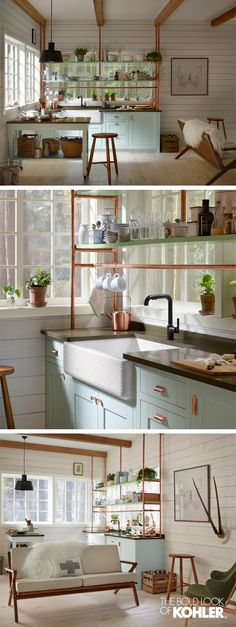 Interior Design Trends: Inspired by Scandinavian Minimalism, this copper-infused kitchen shows just how hardworking small spaces can be.