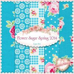 "Flower Sugar Spring 2014 5 FQ Set - Aqua by Lecien Fabrics: Flower Sugar Spring 2014 is a collection by Lecien Fabrics. 100% cotton. This set contains 5 fat quarters, each measuring approximately 18"" x 21""."