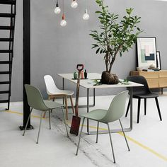 The Muuto Table from Finnish label Muuto was designed by Staffan Holm and is firmly in the tradition of modern Scandinavian design.As with all Muuto produ Decor, Interior Inspiration, Side Chairs, Interior, Half Painted Walls, Dining Room Decor, Molded Chair, Home Decor, House Interior