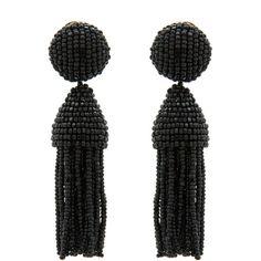 Oscar de la Renta Black Tassel Earrings ($345) ❤ liked on Polyvore