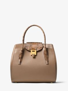 Michael Kors Bancroft Large Calf Leather and Snakeskin Satchel 25aca26dec706