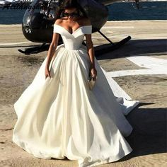 Deep V-neck Ball Gowns Satin Wedding Dresses Off The Shoulder Bridal Gowns from MrTang Deep V-neck Prom Dresses Satin Wedding Dresses Off the Shoulder Wedding Dresses Wedding Dresses Plus Size, Dream Wedding Dresses, Bridal Dresses, Lace Wedding, Modest Wedding, Formal Dresses, Bridesmaid Dresses, Trendy Wedding, Casual Dresses