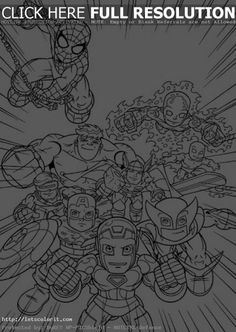 Online Printable Image Of Super Hero Squad Free For Kids To Color