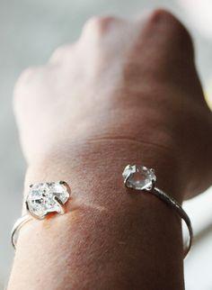 New York Herkimer Diamond and Sterling Silver cuff bracelet via Etsy.