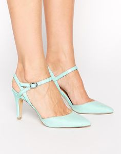 Image 1 of New Look Systematic Mint Green Strap Heeled Pumps