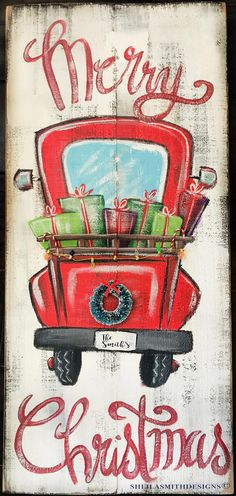 Merry Christmas Red Truck sign Merry Christmas sign Red image 1 - Crissie Alone Home Christmas Red Truck, Pallet Christmas, Farmhouse Christmas Decor, Outdoor Christmas, Rustic Christmas, Christmas Art, Christmas Wreaths, Christmas Decorations, Christmas Ornaments