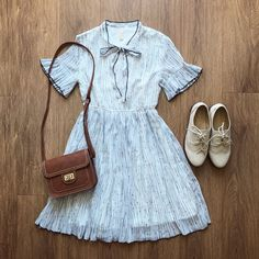 Bow Tie Ruffle Stripe Dress – The Other Sparrows Girly Outfits, Cute Outfits, Pretty Summer Dresses, Petite Women, Ruffle Sleeve, Striped Dress, Outfit Of The Day, Chiffon, Sparrows
