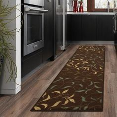 Ottomanson Ottohome Collection Contemporary Damask Design Non-Skid (Non-Slip) Rubber Backing Modern Runner Rug, X Brown Modern Area Rugs, Contemporary Area Rugs, Aqua Blue, Modern Hall, Hall Runner Rugs, Long Rug, Oriental Design, Leaf Design, Paisley Design
