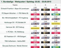 Die besten Bundesliga Quoten zum 34. Spieltag.