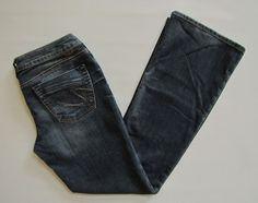 Silver Jeans 31 33 Lael Boot Cut Denim Medium Indigo Distress cotton poly mid #SilverJeans #BootCut #Lael