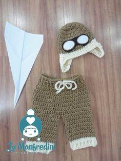 Crochet aviator baby set. Conjunto aviador em crochê.
