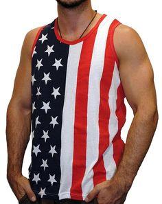 Men's American Flag Stripes And Stars Tank Top Shirt TAF09 XL  #Exist #NA